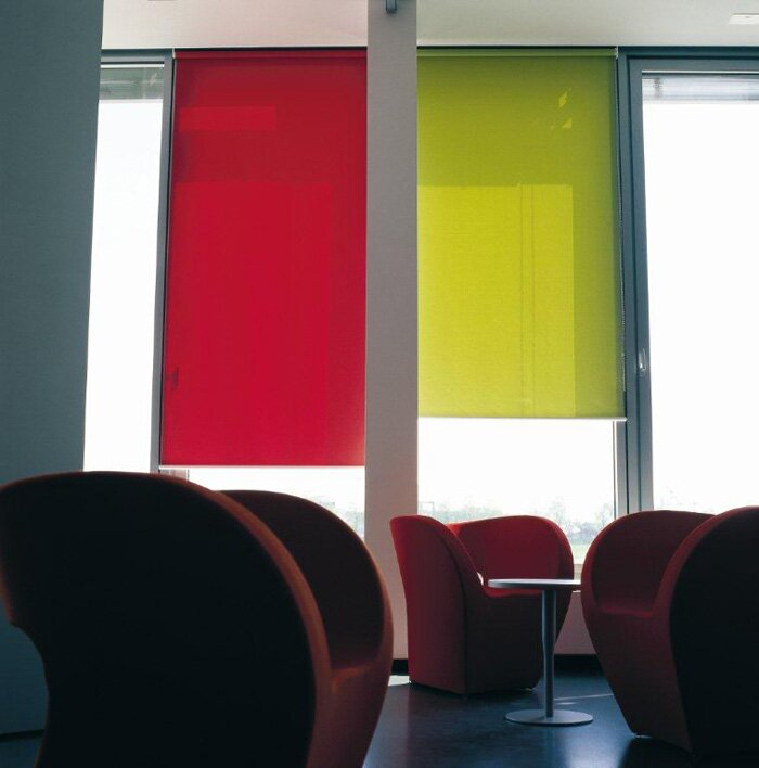 Roller blinds in bright colours